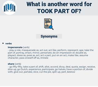 took part of, synonym took part of, another word for took part of, words like took part of, thesaurus took part of