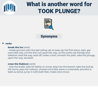 took plunge, synonym took plunge, another word for took plunge, words like took plunge, thesaurus took plunge