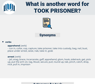 took prisoner, synonym took prisoner, another word for took prisoner, words like took prisoner, thesaurus took prisoner