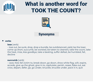 took the count, synonym took the count, another word for took the count, words like took the count, thesaurus took the count