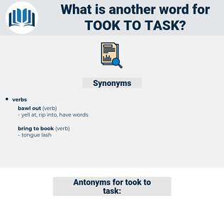 took to task, synonym took to task, another word for took to task, words like took to task, thesaurus took to task