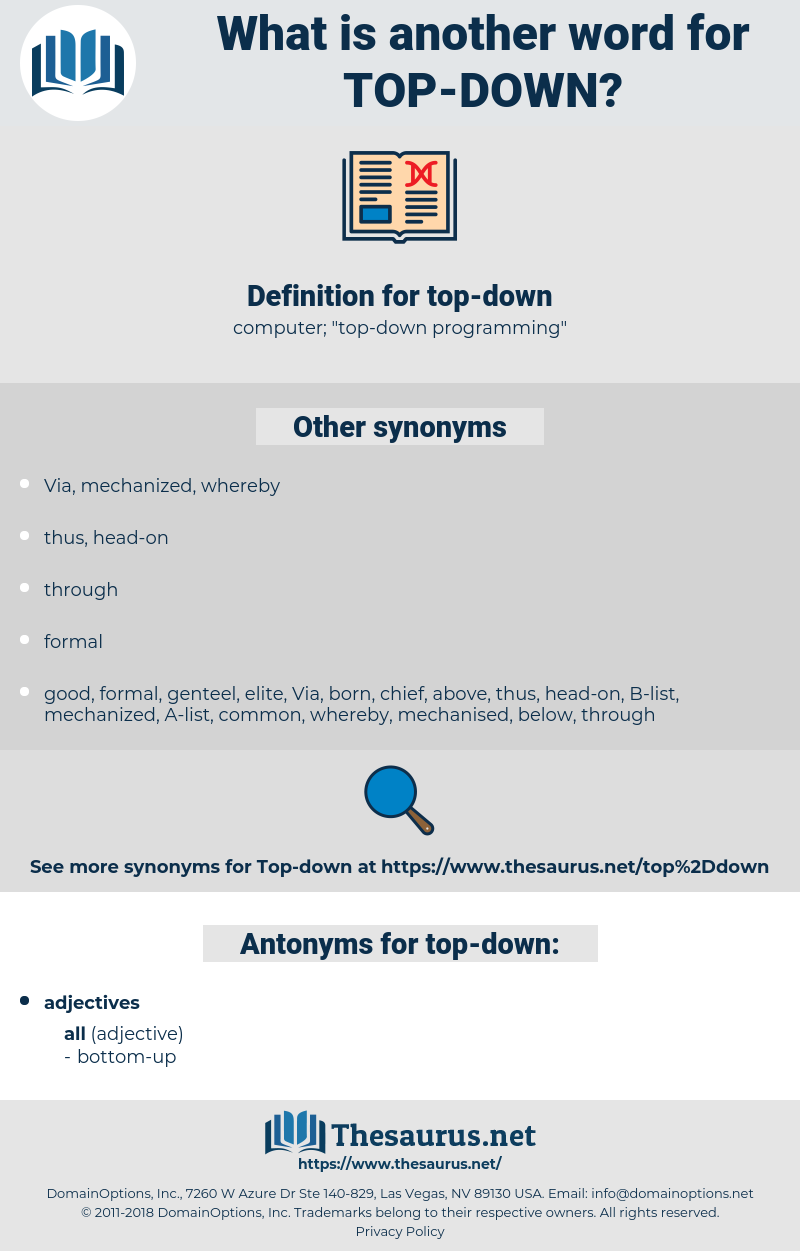 top-down, synonym top-down, another word for top-down, words like top-down, thesaurus top-down