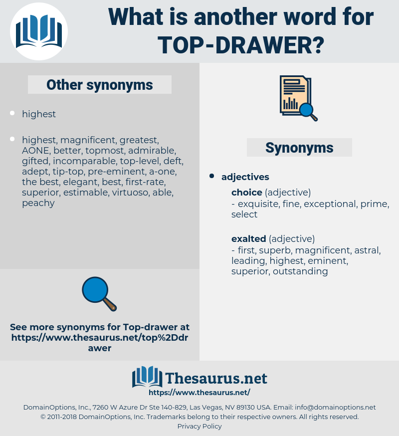 top-drawer, synonym top-drawer, another word for top-drawer, words like top-drawer, thesaurus top-drawer