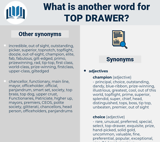 top drawer, synonym top drawer, another word for top drawer, words like top drawer, thesaurus top drawer