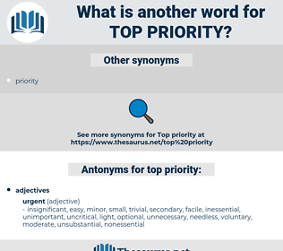 top-priority, synonym top-priority, another word for top-priority, words like top-priority, thesaurus top-priority