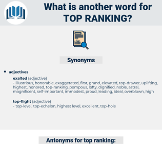 top-ranking, synonym top-ranking, another word for top-ranking, words like top-ranking, thesaurus top-ranking