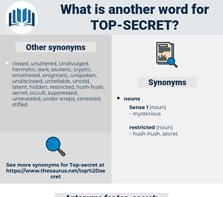 top-secret, synonym top-secret, another word for top-secret, words like top-secret, thesaurus top-secret
