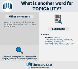 topicality, synonym topicality, another word for topicality, words like topicality, thesaurus topicality