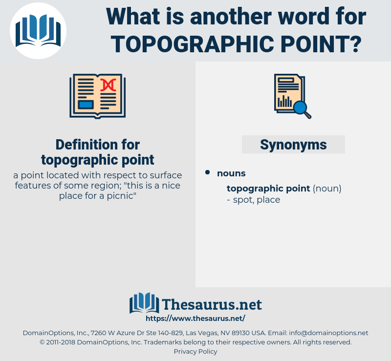 topographic point, synonym topographic point, another word for topographic point, words like topographic point, thesaurus topographic point