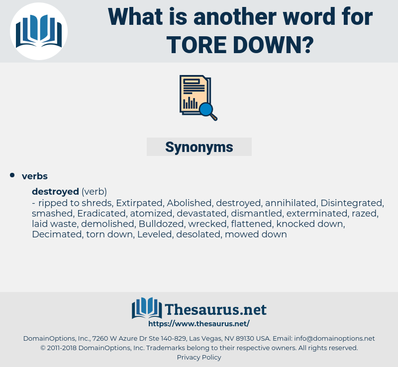 tore down, synonym tore down, another word for tore down, words like tore down, thesaurus tore down