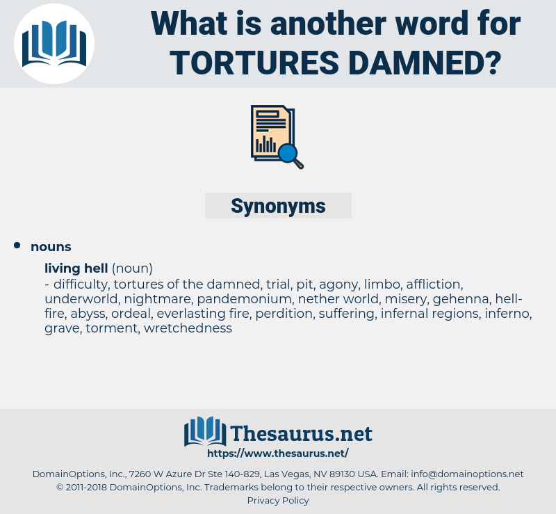 tortures damned, synonym tortures damned, another word for tortures damned, words like tortures damned, thesaurus tortures damned