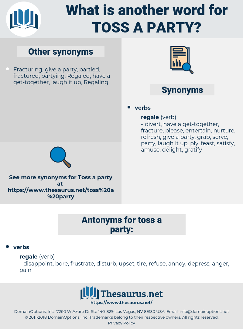 toss a party, synonym toss a party, another word for toss a party, words like toss a party, thesaurus toss a party