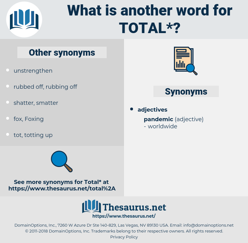 total, synonym total, another word for total, words like total, thesaurus total