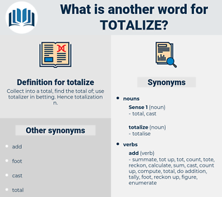 totalize, synonym totalize, another word for totalize, words like totalize, thesaurus totalize