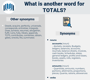 totals, synonym totals, another word for totals, words like totals, thesaurus totals
