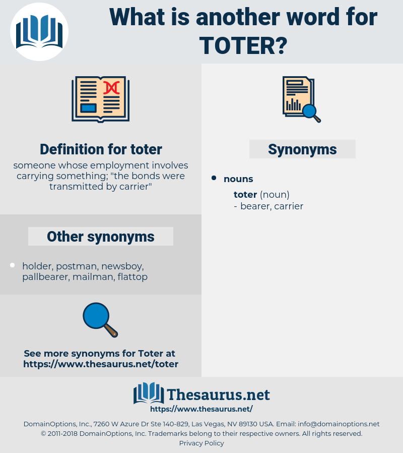 toter, synonym toter, another word for toter, words like toter, thesaurus toter