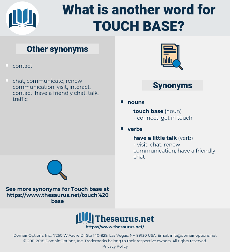 touch base, synonym touch base, another word for touch base, words like touch base, thesaurus touch base