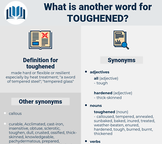 toughened, synonym toughened, another word for toughened, words like toughened, thesaurus toughened
