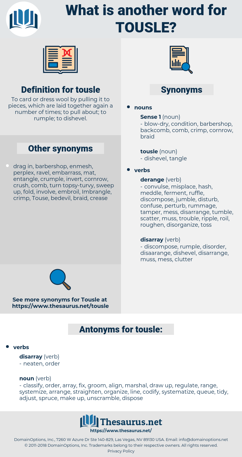 tousle, synonym tousle, another word for tousle, words like tousle, thesaurus tousle