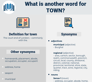 town, synonym town, another word for town, words like town, thesaurus town