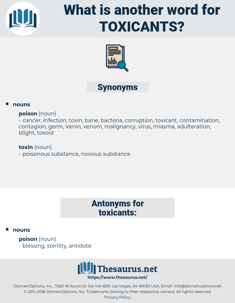 toxicants, synonym toxicants, another word for toxicants, words like toxicants, thesaurus toxicants