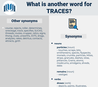 traces, synonym traces, another word for traces, words like traces, thesaurus traces