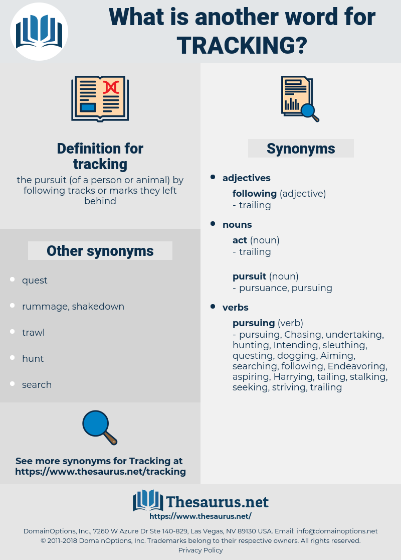 tracking, synonym tracking, another word for tracking, words like tracking, thesaurus tracking