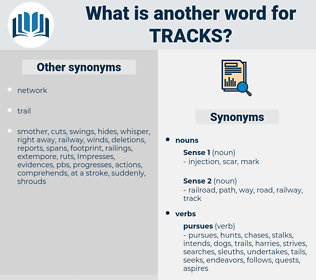 Tracks, synonym Tracks, another word for Tracks, words like Tracks, thesaurus Tracks