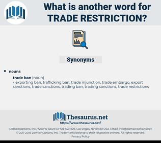trade restriction, synonym trade restriction, another word for trade restriction, words like trade restriction, thesaurus trade restriction