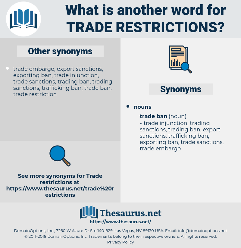 trade restrictions, synonym trade restrictions, another word for trade restrictions, words like trade restrictions, thesaurus trade restrictions