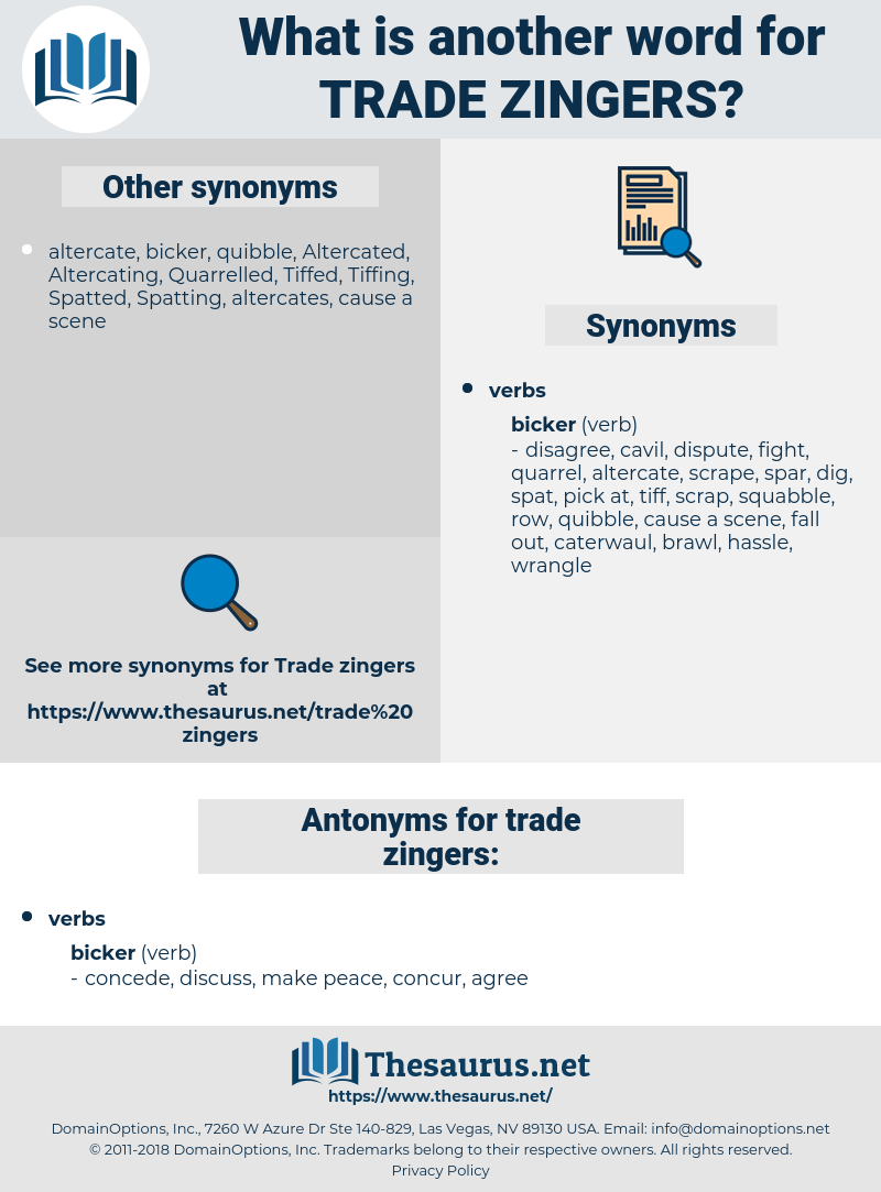 trade zingers, synonym trade zingers, another word for trade zingers, words like trade zingers, thesaurus trade zingers