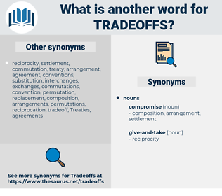 tradeoffs, synonym tradeoffs, another word for tradeoffs, words like tradeoffs, thesaurus tradeoffs