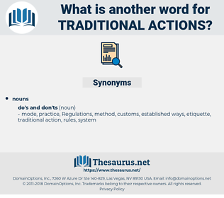 traditional actions, synonym traditional actions, another word for traditional actions, words like traditional actions, thesaurus traditional actions