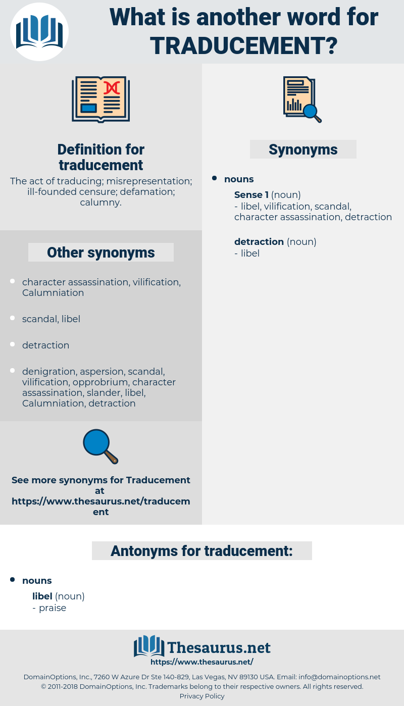 traducement, synonym traducement, another word for traducement, words like traducement, thesaurus traducement