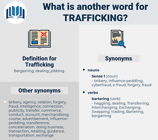 Trafficking, synonym Trafficking, another word for Trafficking, words like Trafficking, thesaurus Trafficking