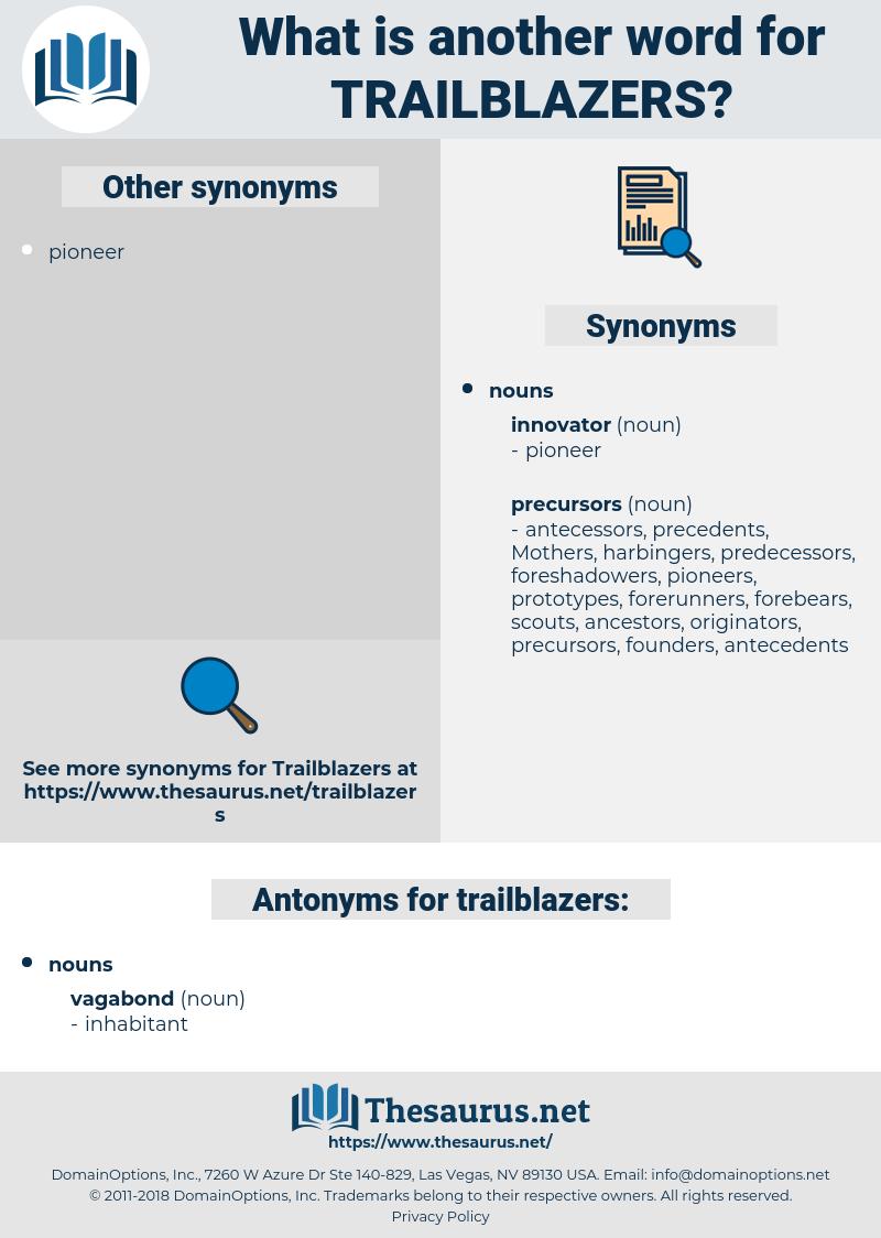 trailblazers, synonym trailblazers, another word for trailblazers, words like trailblazers, thesaurus trailblazers