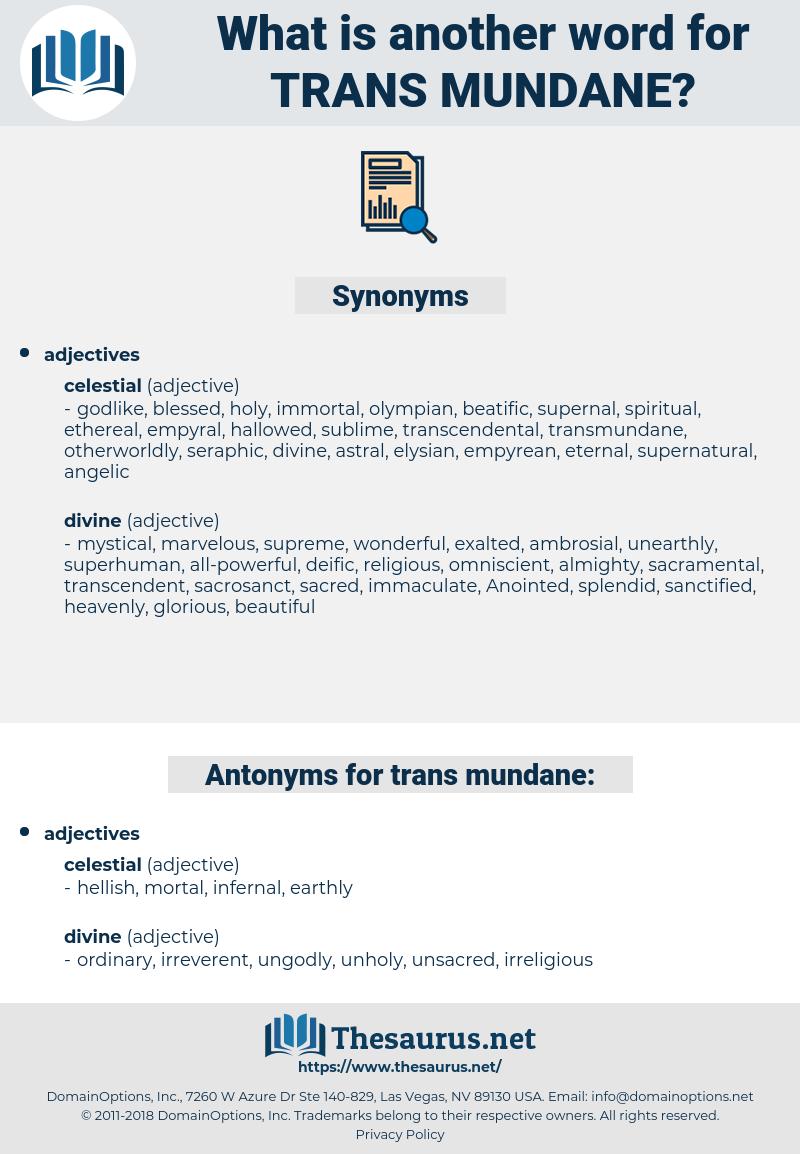 trans mundane, synonym trans mundane, another word for trans mundane, words like trans mundane, thesaurus trans mundane