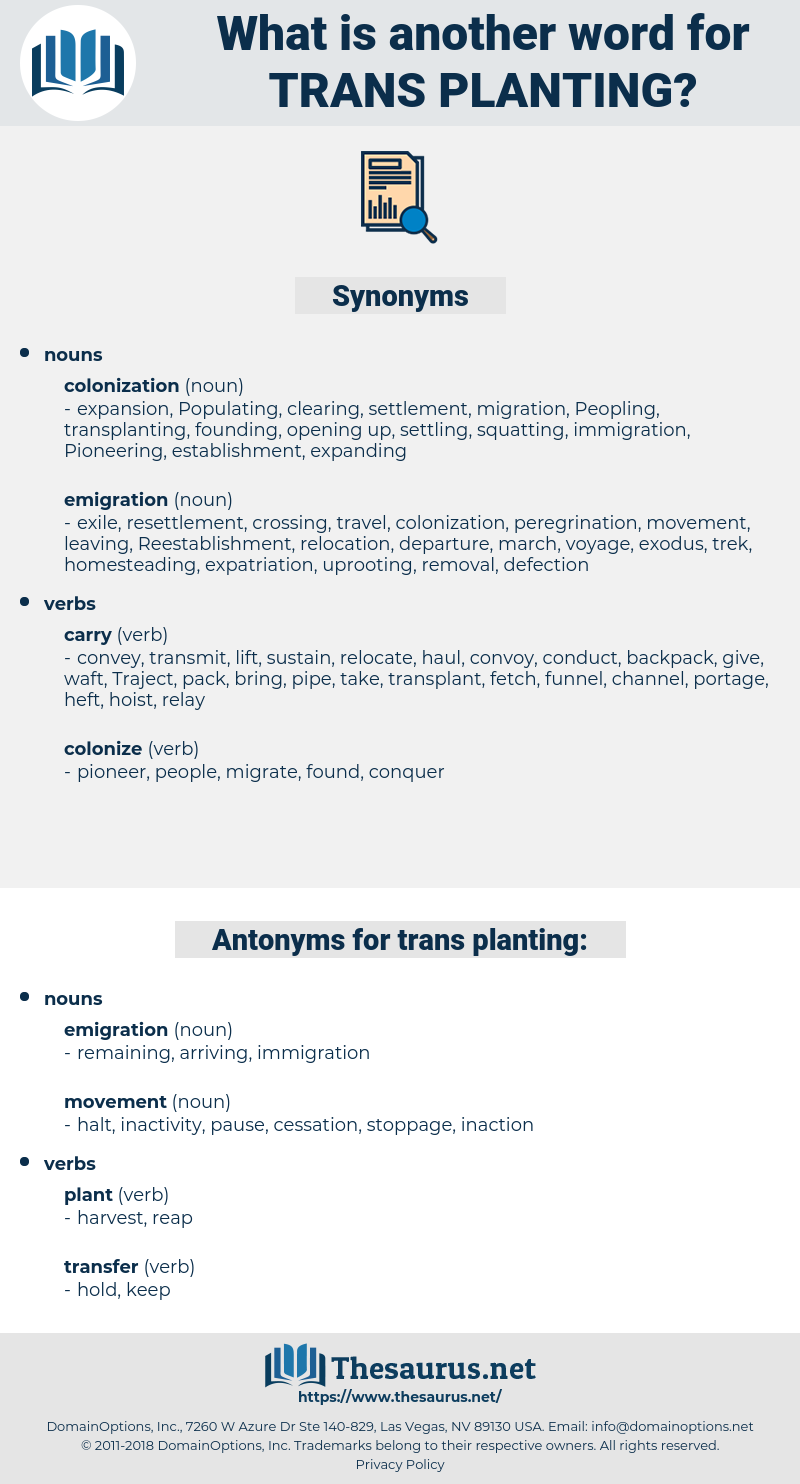 trans-planting, synonym trans-planting, another word for trans-planting, words like trans-planting, thesaurus trans-planting