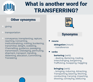 Transferring, synonym Transferring, another word for Transferring, words like Transferring, thesaurus Transferring