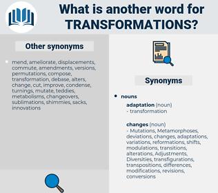 transformations, synonym transformations, another word for transformations, words like transformations, thesaurus transformations