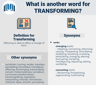 Transforming, synonym Transforming, another word for Transforming, words like Transforming, thesaurus Transforming