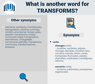 transforms, synonym transforms, another word for transforms, words like transforms, thesaurus transforms