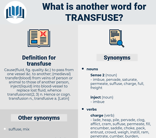 transfuse, synonym transfuse, another word for transfuse, words like transfuse, thesaurus transfuse