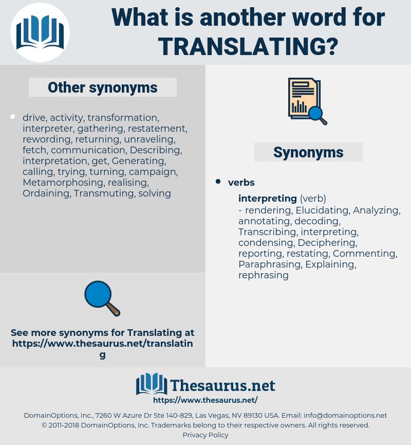 Translating, synonym Translating, another word for Translating, words like Translating, thesaurus Translating