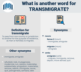 transmigrate, synonym transmigrate, another word for transmigrate, words like transmigrate, thesaurus transmigrate