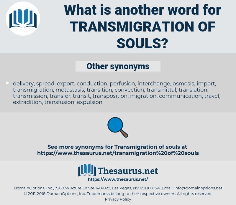 transmigration of souls, synonym transmigration of souls, another word for transmigration of souls, words like transmigration of souls, thesaurus transmigration of souls