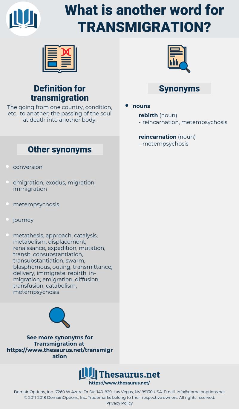 transmigration, synonym transmigration, another word for transmigration, words like transmigration, thesaurus transmigration