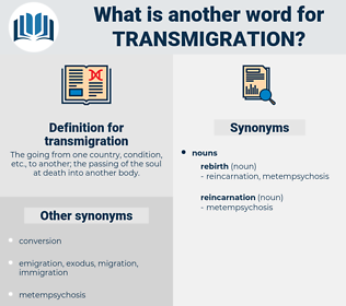 transmigration, synonym transmigration, another word for transmigration, words like transmigration, thesaurus transmigration
