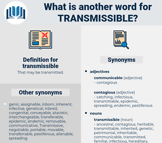 transmissible, synonym transmissible, another word for transmissible, words like transmissible, thesaurus transmissible