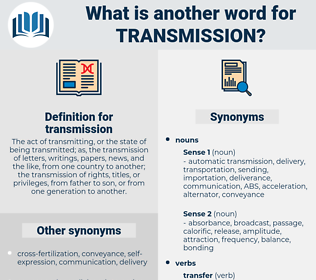 transmission, synonym transmission, another word for transmission, words like transmission, thesaurus transmission